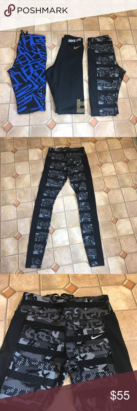 Nike dri-fit Capri/ Pant yoga workout pant lot S Bundle of 3 women's Nike workout pants/Capri ALL size SMALL. 2 are long, skinny leg, spandex workout pants. One pair is black with gold bubble letters down the leg that says just do it. Other pair is black and gray camo print, last pair is Capri length. Blue and black with mesh legs. All are in mint condition- no flaws! Nike Pants Skinny
