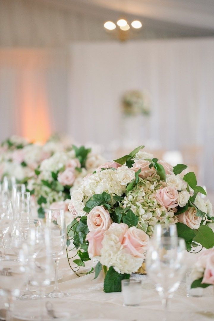 photo: Kelly Kollar Photography; romantic pink and green wedding centerpiece;