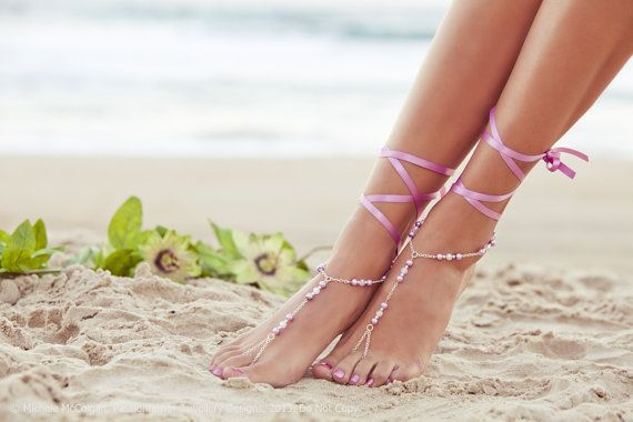 Barefoot Sandles lilac wedding pink by PassionflowerJewelry, $29.00