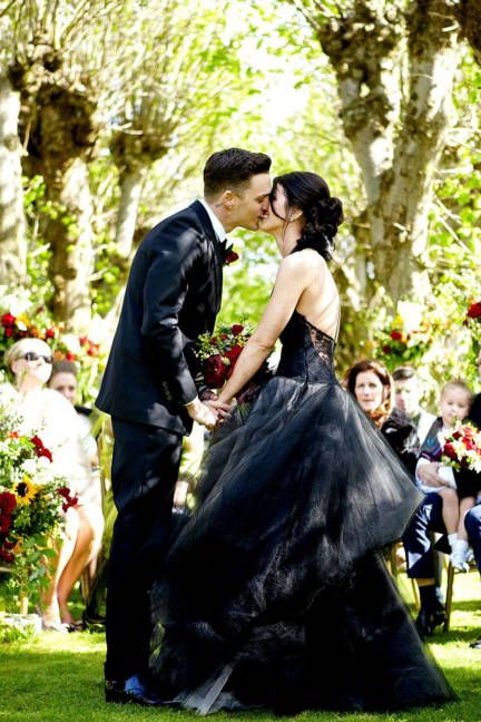 "I felt exactly the same way about white wedding dresses and my black wedding dress!  ""It made me feel like a punk rock princess,"" Grimes told ELLE about her black Vera Wang gown. ""I tried on a few lacy boho cream dresses that were beautiful and elegant and they were certainly fit for a bride, just not me as a bride."" - Shenae Grimes"