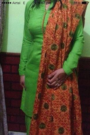 Simple green suit with Phulkari dupatta ❤️@amu