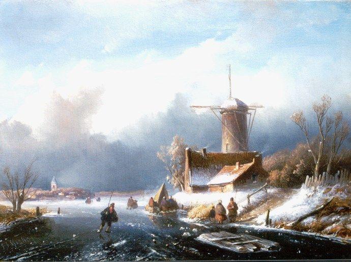 Jan Jacob Spohler - Winterlandschap met schaatsers bij een molen