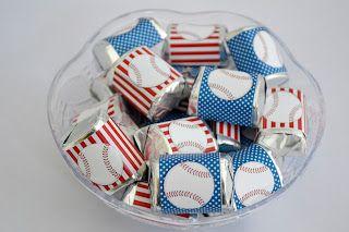 Printable baseball Hershey nugget wrappers