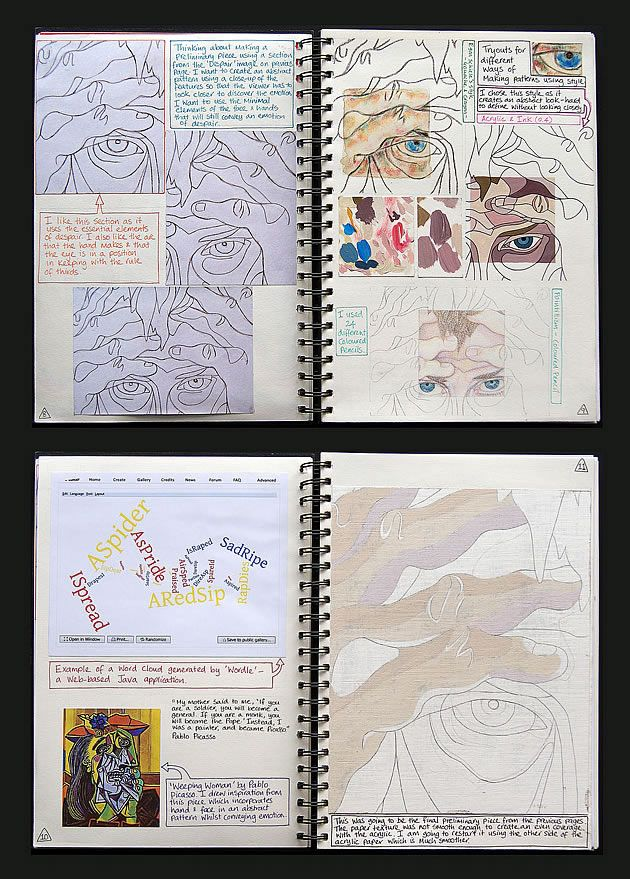 A Level Art sketchbook studies. Experimenting with different ideas using digital and material techniques