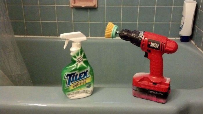 Quick Bathtub Cleaning Tip  -  Attach a scrub brush to a power drill for a hardcore clean with minimal manual effort.