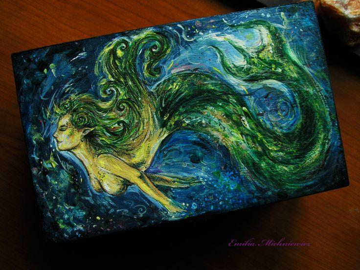 Hand painted wodden box - Mermaid www.facebook.com/EMsilverART