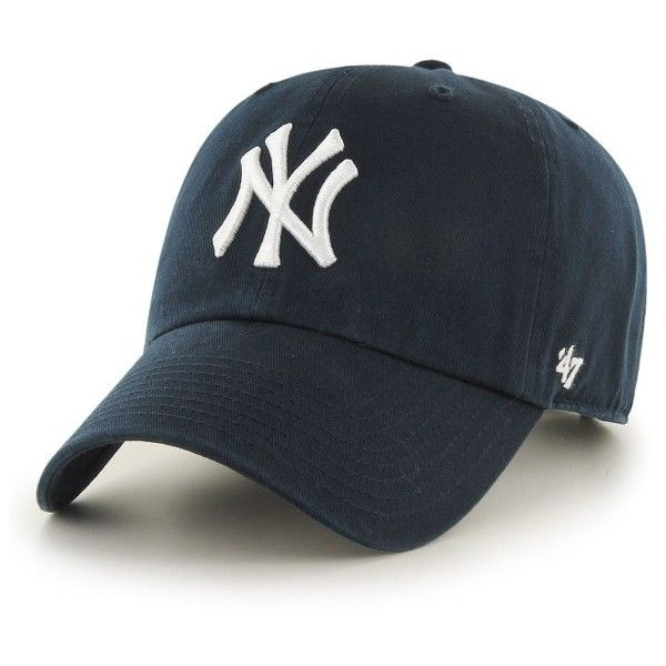 Women's '47 Clean Up Ny Yankees Baseball Cap ($25) ❤ liked on Polyvore featuring accessories, hats, navy, new york yankees hat, ny yankees baseball cap, navy blue baseball cap, ball cap and yankees baseball cap