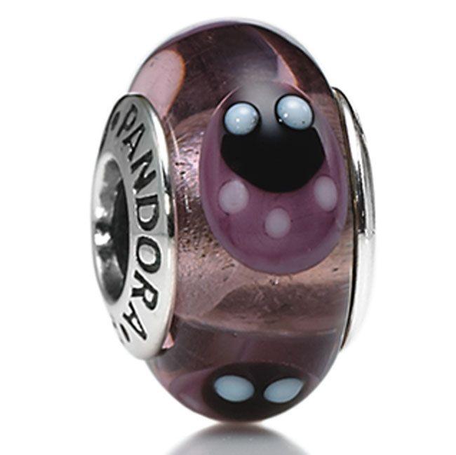 Pandora Murano Glass Lavendar Ladybugs