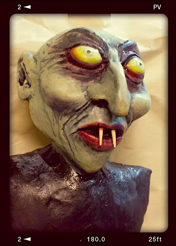 Nosferatu ... by Ellie Gee/MacabreWebs 2017 Air-dry clay, acrylic paints, glow in the dark eyes and fangs. Debuting at MONSTERS & MERRIMENT Halloween and Horror Art Show, Sept 2017 at Fontanel Mansion Nashville TN
