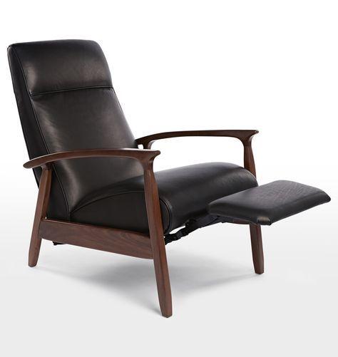 Glenn Walnut Recliner Chair Vercona Tan Leather D0994