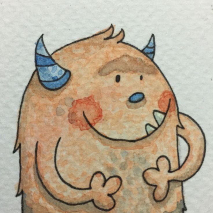Ilustración realizada en acuarela, @laringas @Mabunaface #Mabuna #Watercolor #Acuarela #Monster