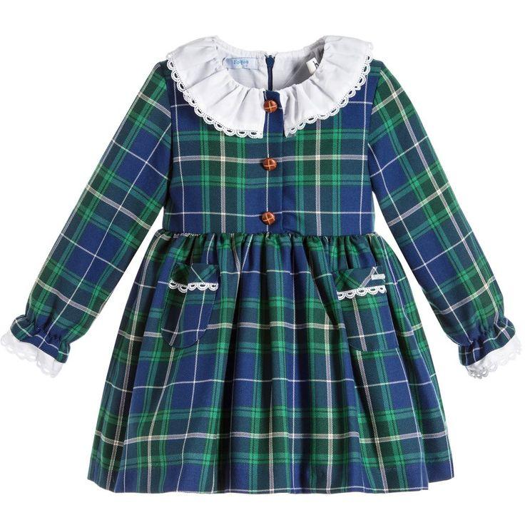 Foque Girls Blue Tartan Dress  at Childrensalon.com