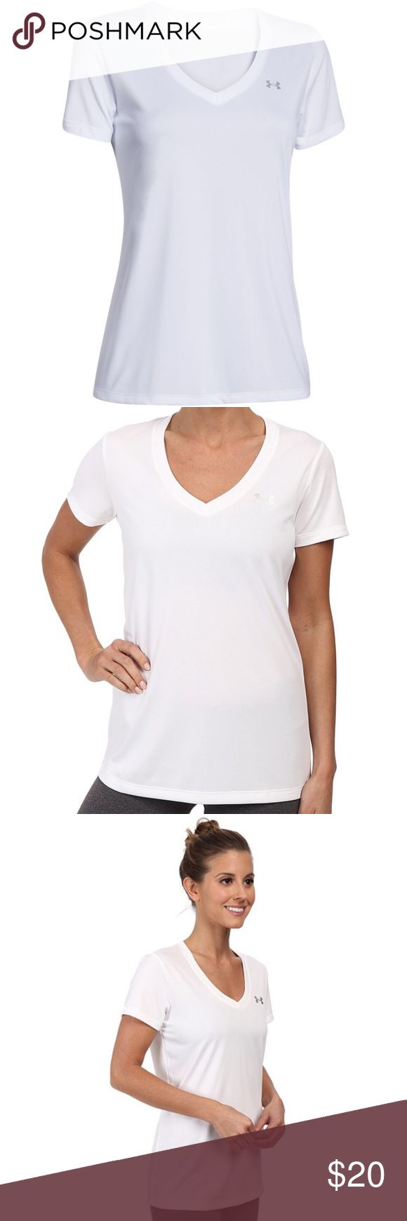 UNDER ARMOUR T Brand new with tags under armour v neck ladies t shirt. Size XL, loose fit. Model is wearing an XS. No trades or holds so please don't ask. Price is firm due to posh fees. Under Armour Tops Tees - Short Sleeve