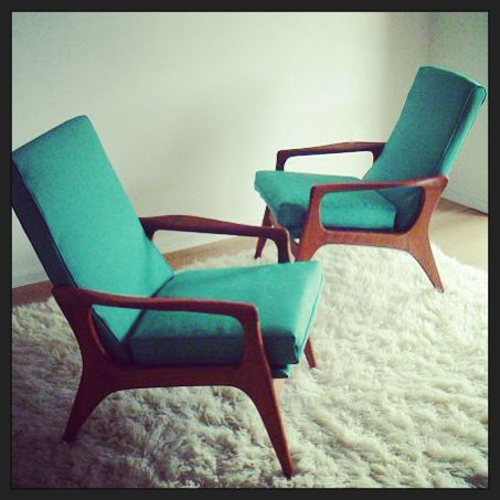 Fler TV chairs newly upholstered in Warwick fabric