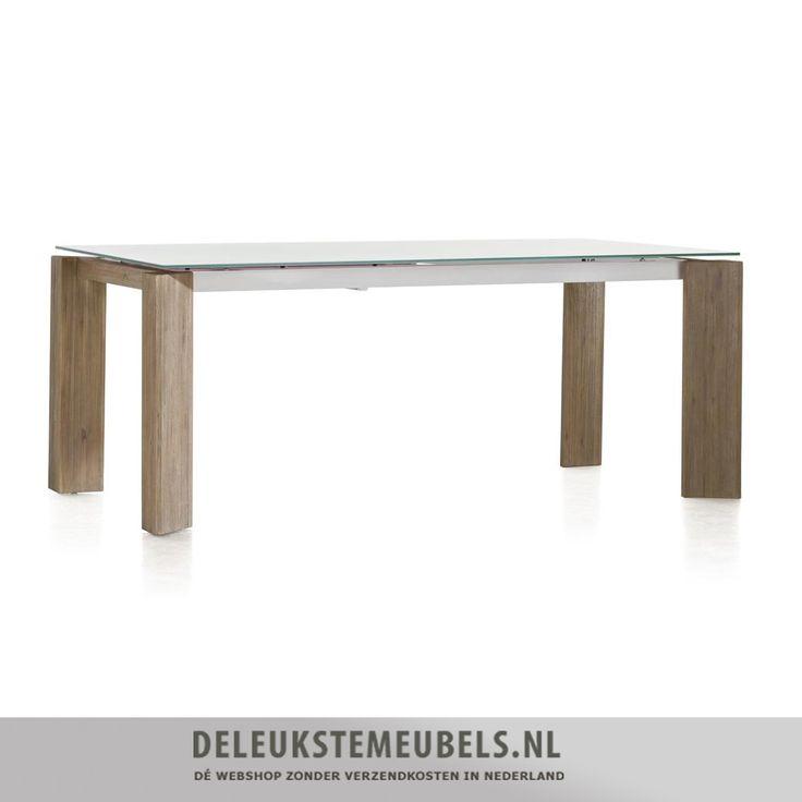 Deze Kozak uitschuiftafel van het merk Henders  Hazel is gemaakt van acacia hout in de kleur mountain grey in combinatie met een glazen blad. De poten van de tafel zijn handmatig oud gemaakt waardoor het een stoer uiterlijk krijgt. Het uitschuif deel is gemaakt van MDF en heeft een witte kleur. De rest van het tafelblad is van mat glas. http://www.deleukstemeubels.nl/nl/kozak-uitschuiftafel-190--90-cm/g6/p1123/ http://www.deleukstemeubels.nl/nl/kozak-uitschuiftafel-160--60-cm-grijs/g6/p1628/