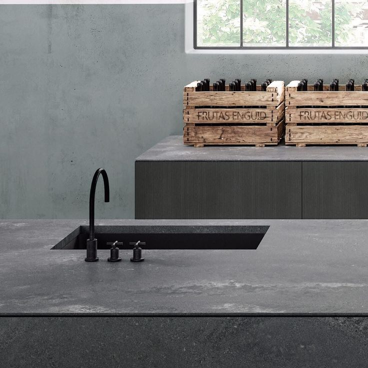 Your newest kitchen obsession | Rugged Concrete's dramatic gradients of grey white haze patina and a 'Rough' matt surface finish make each slab individually unique | Dreaming of your ultimate industrial-inspired kitchen? #clickthelinkinbio #caesarstoneau #caesarstone #ruggedconcrete #caesarstone2017