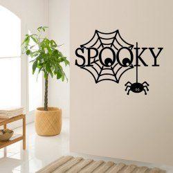 Spooky Word Spider Web Design Halloween Room Wall Sticker (BLACK) | Sammydress.com Mobile