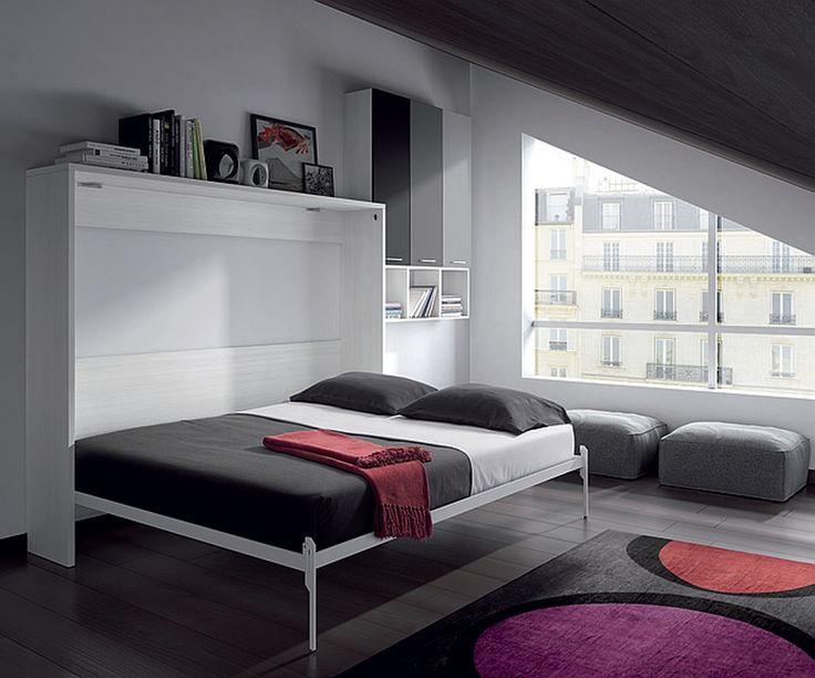 cama plegable pared de matrimonio abierta una cama principal o para invitados en muy poco