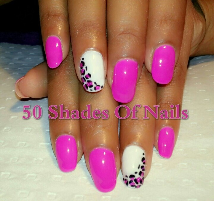 Bio sculpture pink and white with glitter animal print.