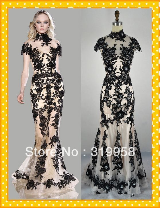 Mermaid High Neck Lace Black Evening Gown Prom Dress By LvsFashion