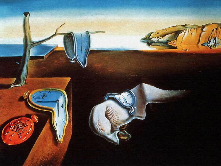 The Persistence of Memory (Catalan: La persistència de la memòria) is a 1931 painting by Salvador Dalí. A postcard of this work moved from one agenda to the next for years, on the inside cover. No, I haven't stuck it onto an iPad or laptop now :-) WHERE? MoMA, NY.