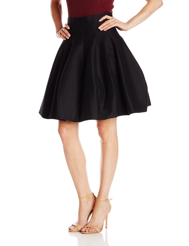 HALSTON HERITAGE Women's Silk Cotton Faille Tulip Structured Skirt, Black, 2. Structured skirt with pleats and concealed back zipper. Lined.