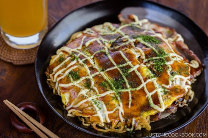 Hiroshima Okonomiyaki is a delicious and easy Japanese crepe topped with cabbage, green onion, and sliced pork belly from Hiroshima, Japan.