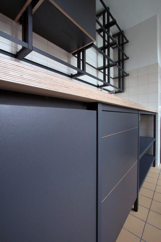 Afbeeldingsresultaat voor gepoederlakt staal keuken