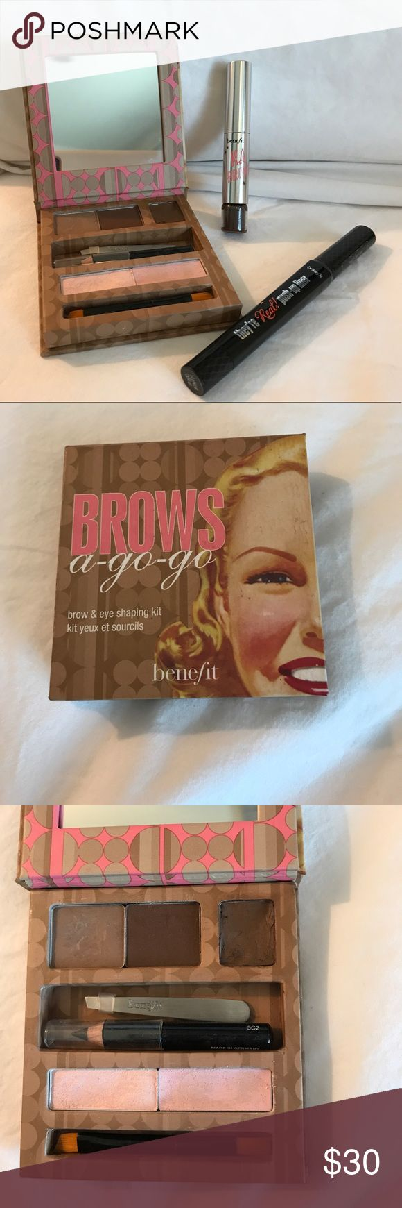 Benefit cosmetics bundle Benefit cosmetics brows a-go-go(gently used), ka bro 5 (new out of box), & They're real push up liner (new out of box) Makeup Eyeliner