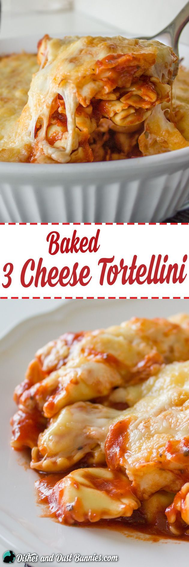 Baked 3 Cheese Tortellini - So Easy and Perfect for Busy Days! from dishesanddustbunnies.com