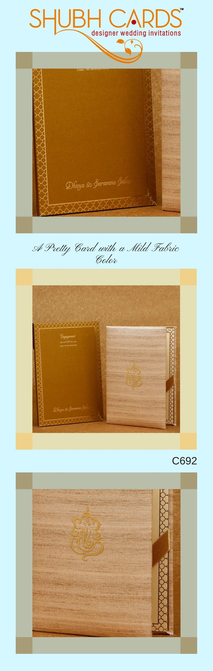 A contrast coloured #WeddingCard from #ShubhCards . The #invite made of cream raw silk has a central Ganesha in MDF. The insert inside has an attractive border with honey comb design in gold.  The cover in golden brown color, with a border made of honey comb pattern in gold looks elegant. The name of the bride and the groom printed in gold atop the #weddingcard looks neat.  #WeddingInvitation #MarriageInvitation #DesignerWeddingInvites #DesignerWeddingCards #MarriageCards #ShubhCards