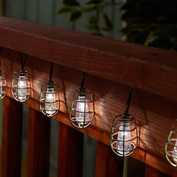 Cornelius Solar String Lights: Edison bulb inspired, industrial chic lights with metal caging #Solar #SolarPowered #StringLights #OutdoorDecor
