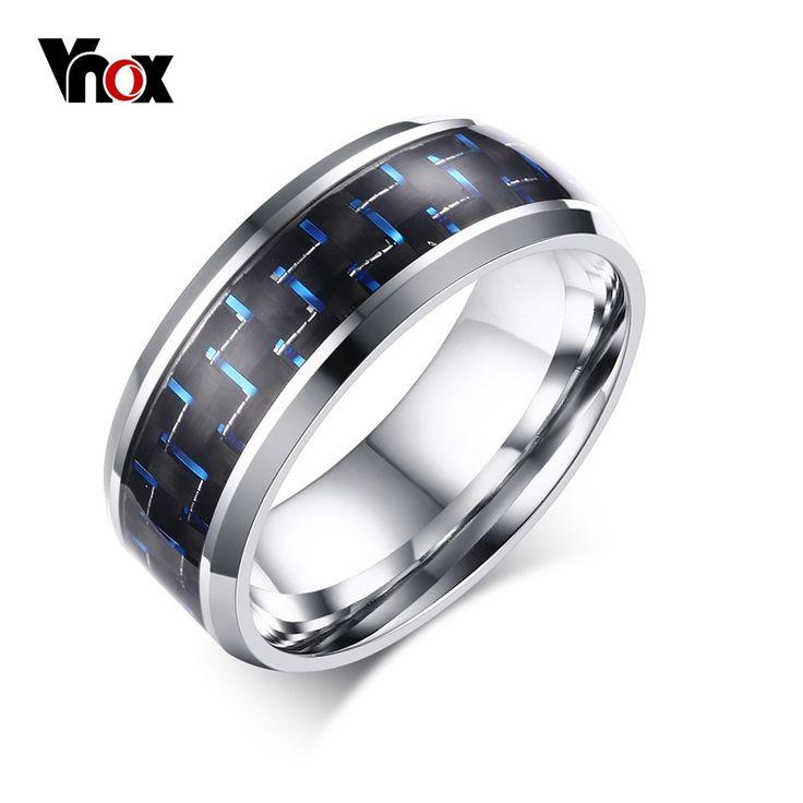 Vnox Men's Rings Blue&Red Color Carbon Fiber Stainless Steel Wedding Rings for Men Jewelry