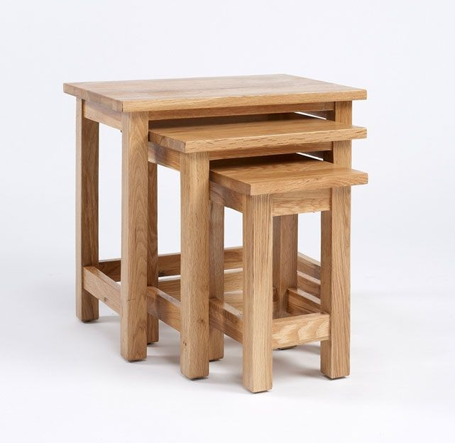 Nests of tables are coming back in 2015 and this is a lovely oak example from Good home Online