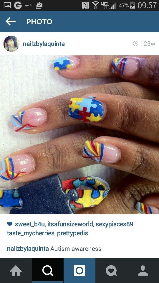 59 best autism awareness nail art images on Pinterest   Autism ...