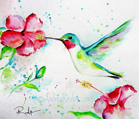 Hummingbird Painting  Bird Art  Hibiscus Flowers  by AngyPaints