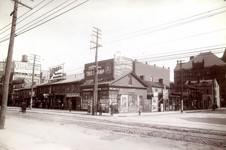 Queen West at the turn of the century, 1906. Trendy Queen West before the trend. This view is from the southeast corner of Bay Street. Courtesy of Toronto Public Library