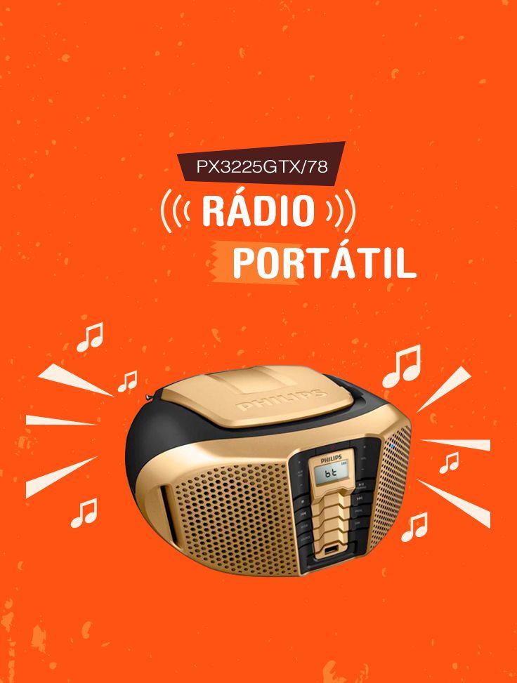 Conecte dispositivos portáteis ou computadores ao rádio da Philips e ouça todas as suas músicas preferidas. O Reforço dinâmico de graves maximiza sua experiência musical, destacando o conteúdo de graves da música em qualquer nível de volume!
