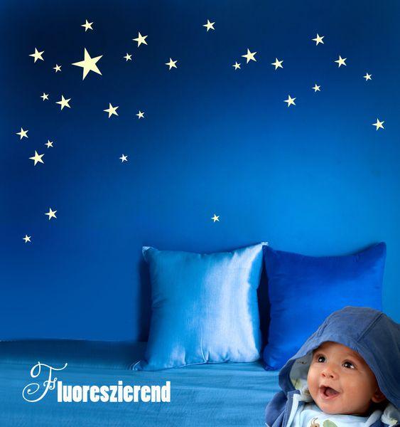 Trend Wandtattoo Wandtattoo Sterne fluoreszierend leuchtend M ein Designerst ck von IlkaParey bei DaWanda