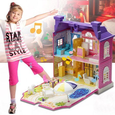 Doll House With Furniture Miniature House Dollhouse Assembling Toys For Kids Purple