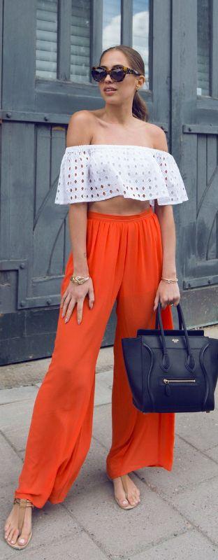 WHITE/ORANGE // Fashion Look by Kenzas