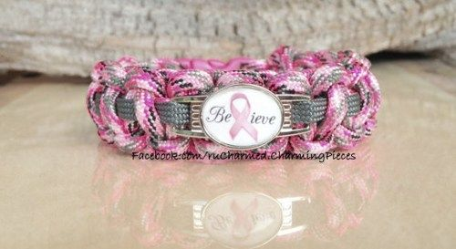 Believe Pink Ribbon Breast Cancer Paracord Survival Bracelet  | ruCHARMED - Jewelry on ArtFire
