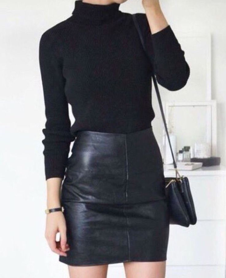 Black leather + black wool