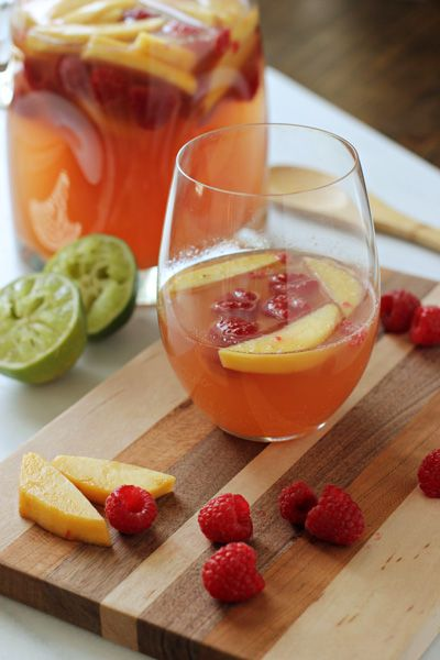 Peach and Raspberry Sangria | Cookie Monster Cooking