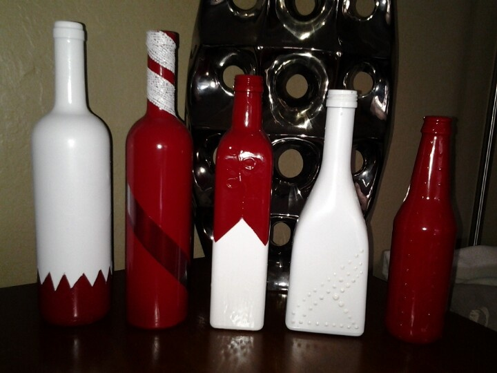 I Saw This Idea From Pinterest And Had To Try It Wine Bottles Olive Decorated