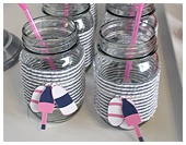 Nautical navy blue and pink mason jars for cocktails