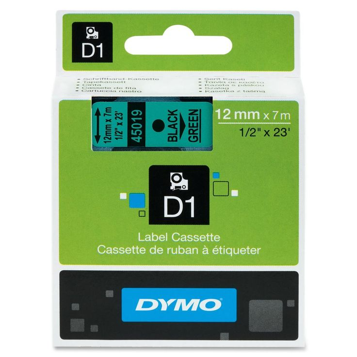 "Dymo D1 45019 Tape - 0.50"" Width x 23 ft Length - 1 Each - Polyester - Thermal Transfer - Black, Green"