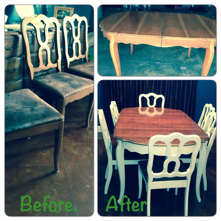 Before and after photo. Antique Dining table painted with ...
