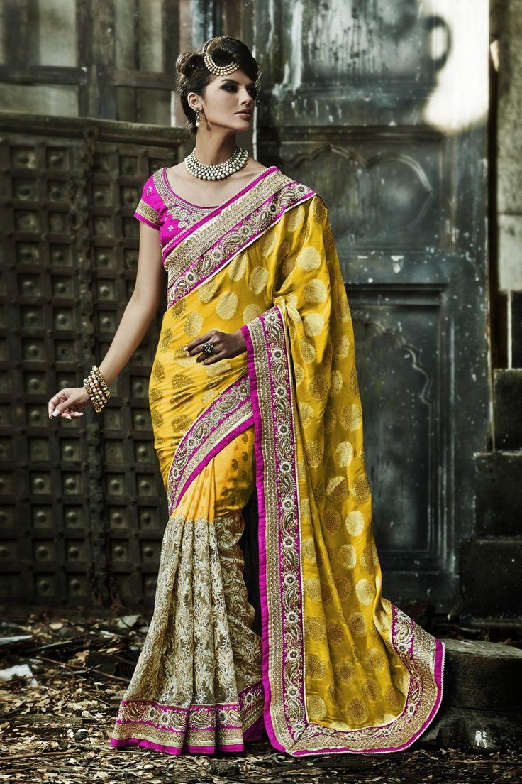Go Graceful with Yellow Bember,Crepe and Jacquard Saree Shop now @ http://zohraa.com/yellow-bember-saree-z1688p104-a-16.html sku : 62949 Rs. 5,199 #sarees #sareesonline #sari #sareeshopping #weddingsaree #designer