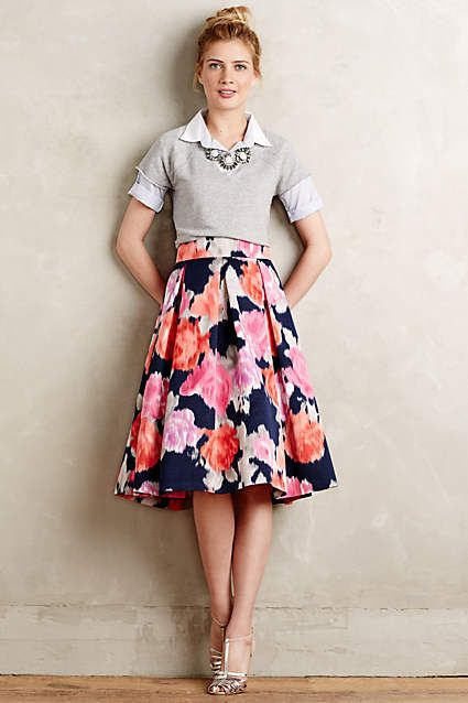 Like the skirt, but love the whole outfit! Angelique Midi Skirt - anthropologie.com ... I don't know if I could pull this off, but I'd love to!